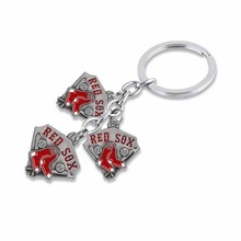 Trendy 10 Pcs Zinc Alloy Baseball Team Boston Red Sox Logo Charms Keychain For Sport Fans Keyring Gift
