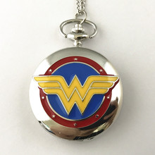 FANTASY UNIVERSE Freeshipping a lot 1PCS Wonder Woman pocket watch NECKLACE Dia4.7CM HYT15