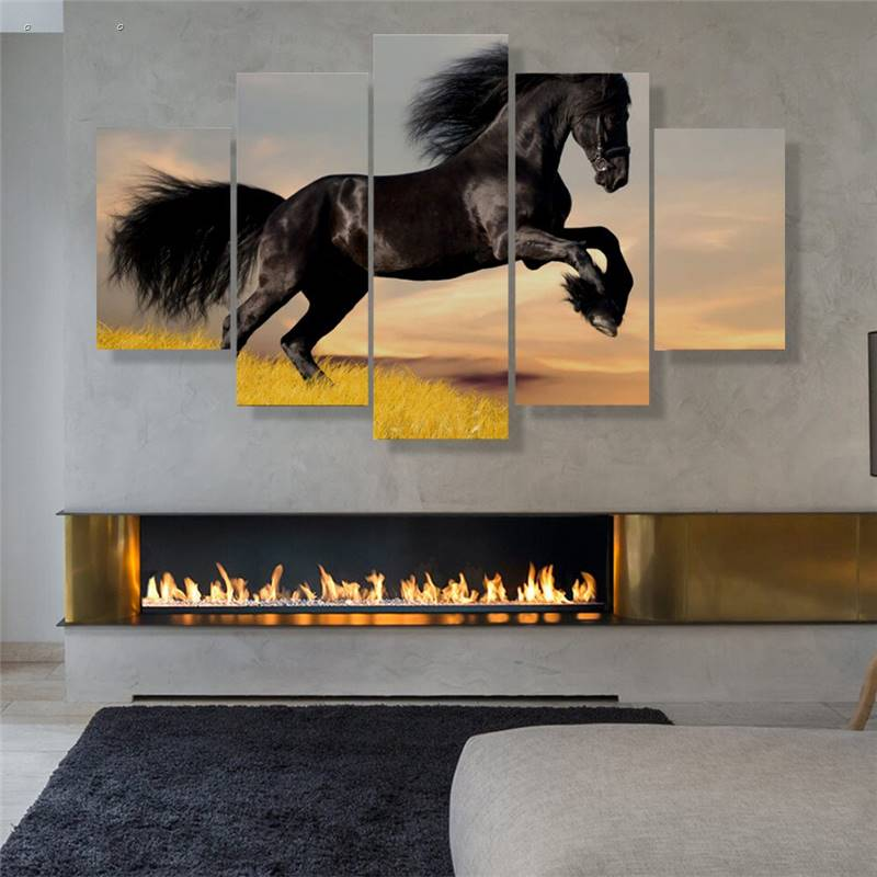 5 Panels Hd Printed Black Horse Wall Art Painting Canvas Print Room Decor Print Poster Picture Canvas P0605 vendor supplier(China (Mainland))
