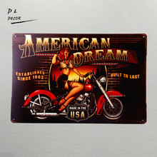 DL- American Dream Motorcycle Pin Up Girl Sign Great gift idea for the motorcycle fanatic! wall sticker