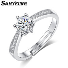 Samyeung Trendy Women Engagement Crystal Silver Rings for Female New Store Ring Man Alliance Bijoux Femme My Orders Wholesale