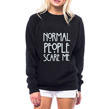 Cute Hoodies wowmity Autumn Casual Hoodies Normal People Scare Me Letter Print Harajuku Women Sweatshirts Long Sleeve O-Neck