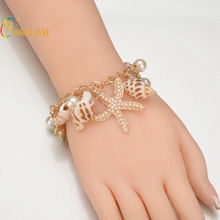 2017 New Arrival Fashion Ocean Bohemian Accessories Trendy Jewelry Beauty Sea Star Shell Bracelets for Female(China)
