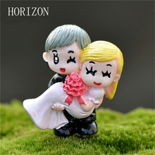 Resin Sweet Couple Marry Wedding Home Garden Decoration Ornaments Mini Crafts Bonsai Micro Landscape DIY Craft Hot