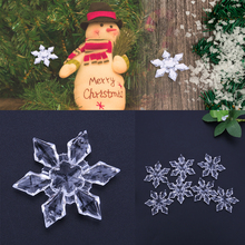 12pcs/lot Christmas Ornament Transparent Clear Acrylic Christmas Snowflake Christmas Tree /Window Christmas Decorations For Home(China)