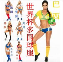 free pp 2015 Football Baby Costume Sexy Cheerleading Cloth Women Football Sexy Sports costumes Germany Argentina Spain Brazil(China)