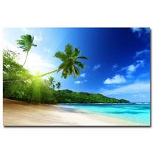 NICOLESHENTING Sunshine - Tropical Sea Beach Skyline Nature Art Silk Fabric Poster Print Plam Trees Landscape Wall Picture(China)
