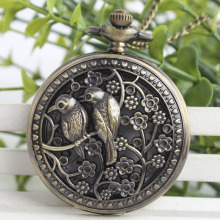 Magpie Retro Pocket Watch Engraved Bronze Tuo Table Ornaments Watch Female Pocket Watch 3SY84(China)