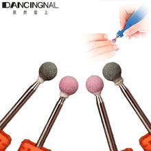 "4PCS Spherical Ceramic Stone Burr Nail Drill Bit 3/32"" Professional Manicure Electric Drill Accessory Cuticle Clean Milling Tool"