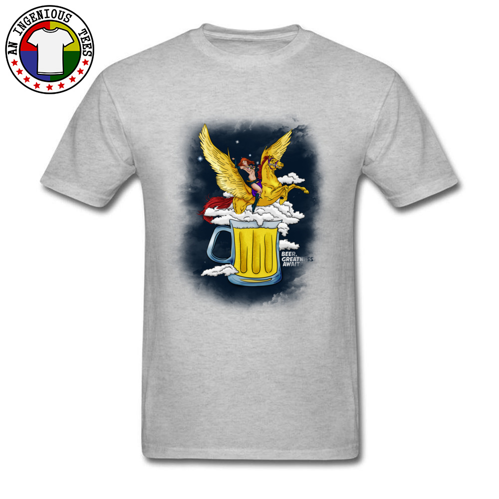 Beer Greatness Awaits Casual Tops Shirts Short Sleeve for Men Pure Cotton Summer Crew Neck T Shirts Custom Tees Fashionable Beer Greatness Awaits grey