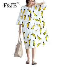 F&JE 2017 Summer New Fashion Korean Style Plus Size Clothing Women Brand Dress Banana Cotton Print Loose Casual Long Dress J970