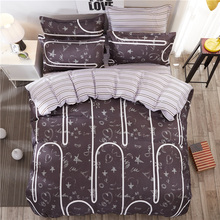 Hot 4PCS Fashion Stripe Bedding Set Pillowcase Bed Sheet Duvet Cover Luxury Bedding Set King Queen Size Bed Set For Bedroom(China)