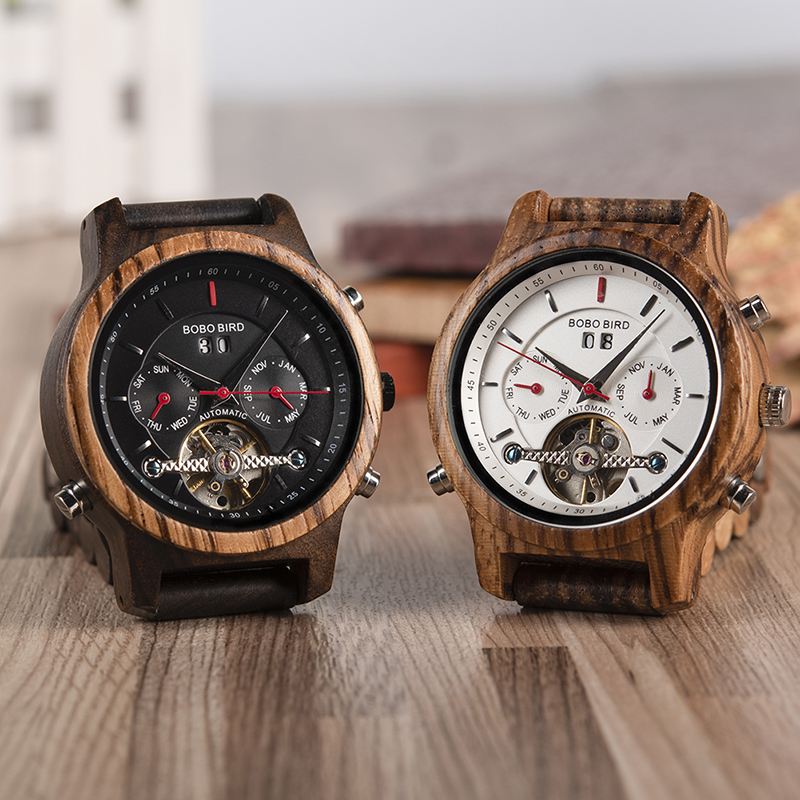 BOBO BIRD Automatic Mechanical Watches Men Wooden Luxury Watch with Calendar Display Multifuctions relogios automaticos mecanic 1