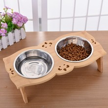 2018 Newest Dual Sections Solid Wood Rectangular Table Pet Double Bowl Raised Stand Stainless Steel Dual Bowls dog&cat Feeder(China)