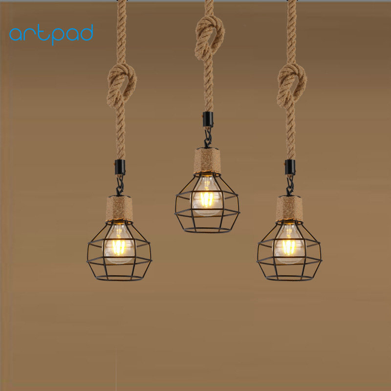 Artpad Wrought Vintage Iron Pendant Light E27/26 Edison Bulb DIY Handmade Hanging Rope Lamp for Restaurant Bar Coffee Fixtures<br>