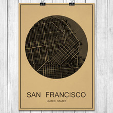 Famous SAN FRANCISCO World City map Vintage poster Retro Art painting Kraft paper Wall Sticker Living Room Cafe Bar Decor home(China)