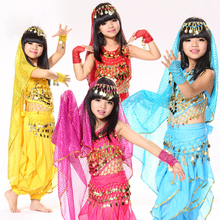 Belly Dance Children Indian Costume Set 5-piece (Top, Belt, Pants, Headpiece and Sleeves) Bollywood Dance Costumes for Girls