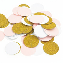 Round And Star Paper Confetti  Wedding Decoration Child Kids Birthday Table Centerpiece Party Supplies Pink White Gold