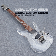 New Acrylic Electric guitar White Transparent Pickguard, Acrylic Body & Fingerboard with LED Light, Guitarra, Wholesale