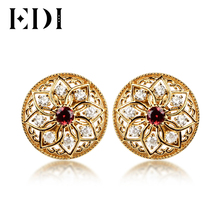 EDI Natural Red Garnet Stud Earrings for Wedding 925 Sterling Silver Classic European Style Stud Earrings 18K Gold Fine Jewelry