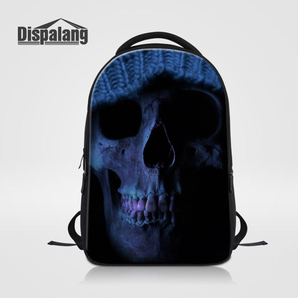 Dispalang Cool Skull Printing Laptop Backpack For Women Men Travel Daypack School Shoulder Bag College Bookbag Notebook Backpack<br>