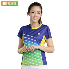 Women badminton shirt table tennis clothing girl tennis t shirt short sleeve sports tee 21079(China)