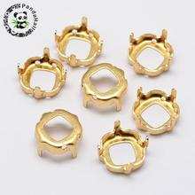 500pcs Square Brass Rhinestone Claw Settings, Within the Error Range of 1mm, Golden, 12x12x0.4mm; Fit for 12x12mm cabochon(China)