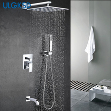 Ulgksd shower faucets Rainfall bath shower head stainless steel shower heads wall mount system mixer tap(China)