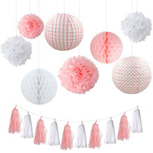 Nicro Wedding Birthday Party Paper DIY Decor Set Pink/Blue/Red/Green Paper Lantern Honeycomb Ball PomPom Flower Tassel Garland(China)