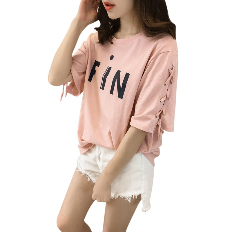 Women Letter Printed Bandage Half Sleeve Loose Tops Women Lady T Shirt Female Summer Clothes