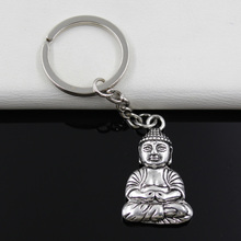 Keychain 39*23mm meditate buddha Pendants DIY Men Jewelry Car Key Chain Ring Holder Souvenir For Gift(China)