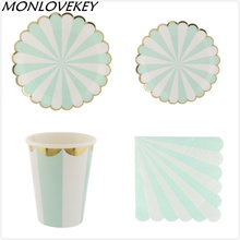 88pcs/lot Light Green Silver Striped Paper Plates Party Set Chevron Disposable Plates Cup Napkin for Christmas Kids Birthday