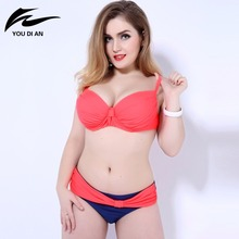 Vintage sexy plus size Bikini women Swimsuit big bust Swimwear Women Halter Bikinis Women Push Up Bikini Bathing Suit Biquini(China)