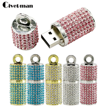 Bling Diamond Cylindrical USB Flash Drive Pen Drive 32GB 16GB 8GB 4GB Memory Stick USB 2.0 Flash Disk 64GB(China)