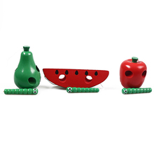 Funny Fruit Lacing Threading Wooden Toy Infant Wood Puzzle Toy Apple/Watermelon/Pear Children Kids Intelligence Development Toy(China)
