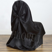 Free Shipping 100 pcs Universal Satin Black Pillowcase Style Self Tie Satin Normal Dining Banquet Party Chair Covers for Wedding(China)