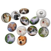 30Pcs Wholesale Mixed Dogs Chien Patterns Glass Round Click Snap Press Buttons Crafts Making 18mm
