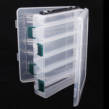 20*17*4.7cm Double Sided Strength Transparent Visible Plastic Fishing Lure Box 10 Compartments with Drain Hole Fishing Tackle(China)