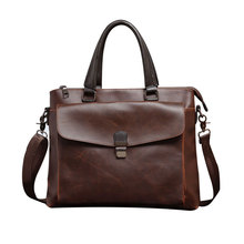 Manufacturer Provides Men's bag Handbag Cross Section of Crazy Horse Leather Briefcase Men's Business Travel Single Shoulder bag(China)