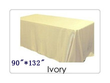 "Free shipping rectangle tablecloth size 90""*132"" color  ivory  for wedding decoration /table cloth rectangular"