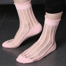 1  Pair Fashion Women Striped Glass Socks Transparent Crystal Mesh Knit Ankle Socks Summer Socks New