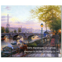 Handmade High Quality Painter Creation in Street Landscape Oil Painting On Canvas for Home Decor Scenery Room Decor Paintings(China)