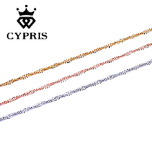 11.11 SUPER DEAL fashion jewelry necklace chain rose gold necklace lose money promotion hot sale ripple craft sexy 1.5mm(China)