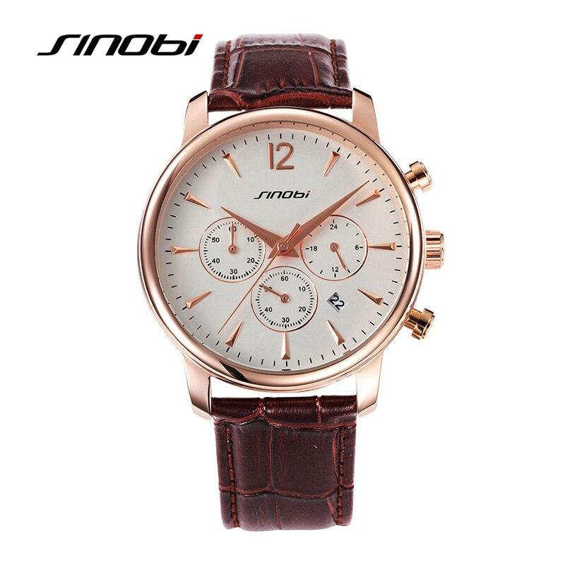 SINOBI 2017 New Arrival Elegant Watch Men Three Little Dials Quartz Watches Gold Dial Businessman Male Wristwatch Leather Strap<br><br>Aliexpress