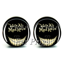 1 pair cat face ear plug gauges black acrylic screw fit ear plug flesh tunnel body piercing jewelry PSP0684