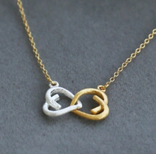 Fine Jewelry 2014 Fashion hotting sale 18k gold heart knot necklace N0865