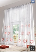 Love quality white handmade heart  pattern loops  rod curtains  for the bedroom,voile window curtain decoration finished product