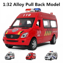 Ambulances, fire engines, police cars, 1:32 scale Alloy Pull Back cars,Diecast World cars gift,free shipping