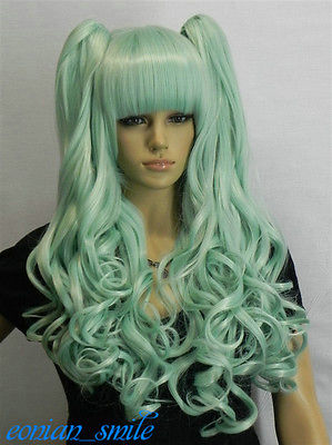 Lori Split Type Light green Mix Long Wavy Lolita Cosplay Wig Ponytail #SC51<br><br>Aliexpress