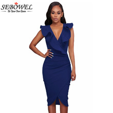 SEBOWEL 2017 Summer Ruffle V Neck Sexy Bodycon Midi Wrap Dress Elegant Formal Office Pencil Dress Sleeveless Club Party Dress(China)